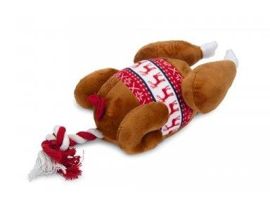 Beeztees Kerstkalkoen - Hondenspeelgoed - Pluche - 30x18x13 cm - foto 1