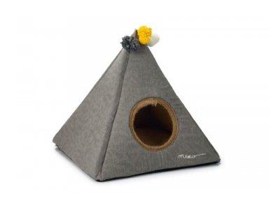 Designed by Lotte Piramido Kattentent Grijs - 45x45x45 cm - foto 1