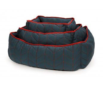 51 Hondenmand Stockholm Softbed Quilted Blue/Red