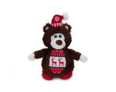 Beeztees Kerstbeer - Hondenspeelgoed - Pluche - Bruin - 16,5x9x6 cm