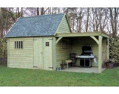 Dinowood Cottage Hoofdgebouw Zadeldak +Verlenging Plat Dak