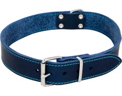Leder Halsband Vetleder Blauw