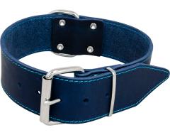 J&V Halsband Vetleder Breed Blauw